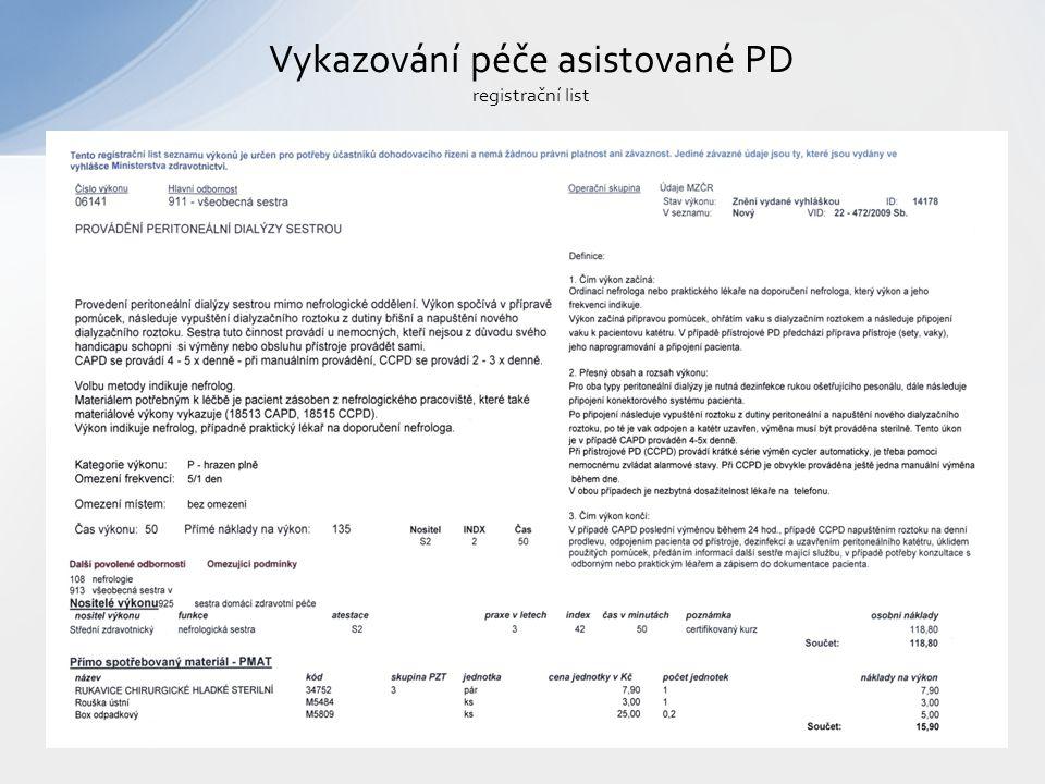 Vykazování péče asistované PD registrační list