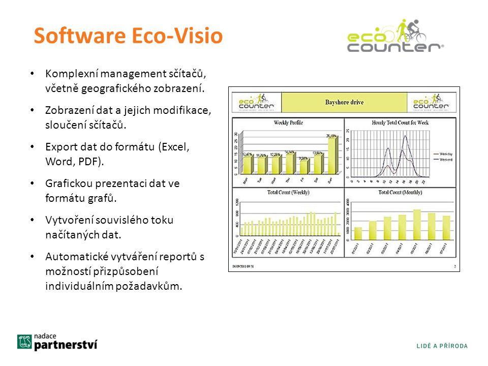 Software Eco-Visio Komplexní management sčítačů, včetně geografického zobrazení. Zobrazení dat a jejich modifikace, sloučení sčítačů.