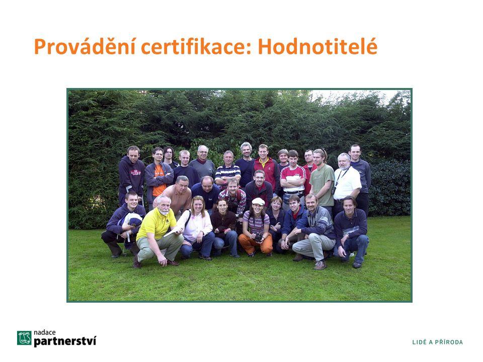 Provádění certifikace: Hodnotitelé