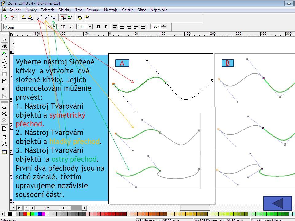 Vyberte nástroj Složené křivky a vytvořte dvě složené křivky