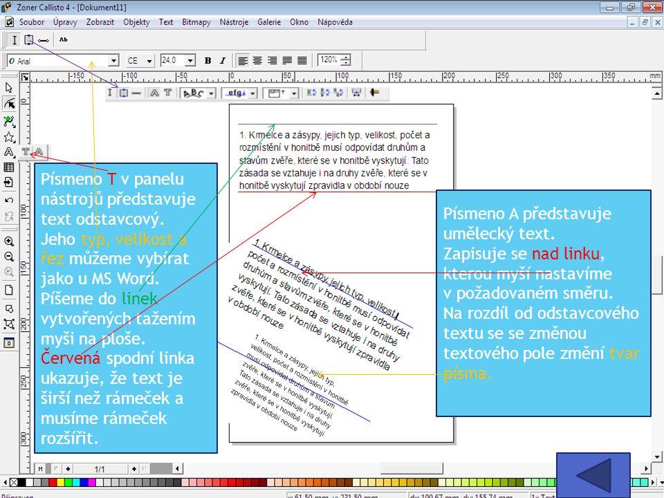 Písmeno T v panelu nástrojů představuje text odstavcový