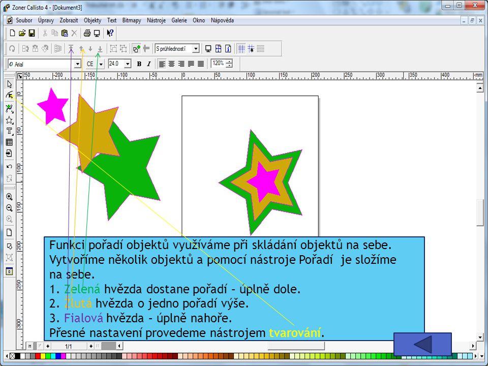 Funkci pořadí objektů využíváme při skládání objektů na sebe