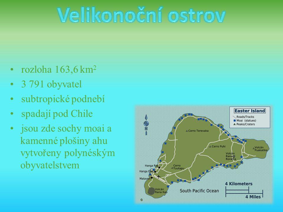 Velikonoční ostrov • rozloha 163,6 km2 • 3 791 obyvatel