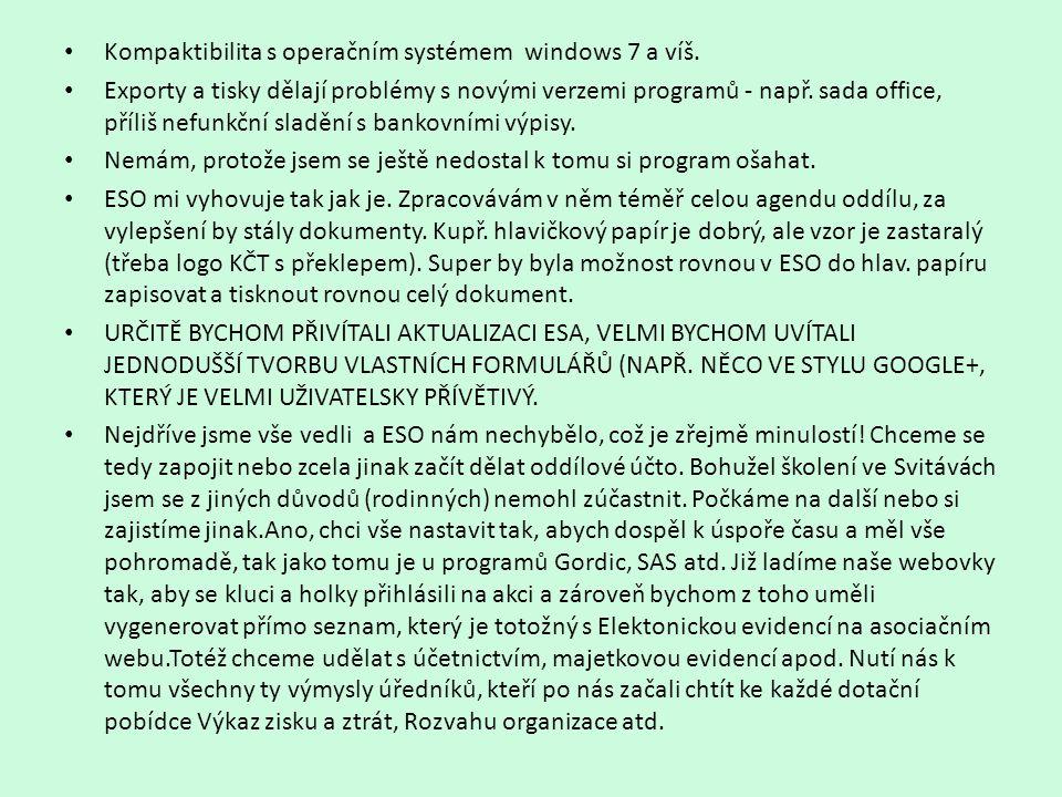 Kompaktibilita s operačním systémem windows 7 a víš.