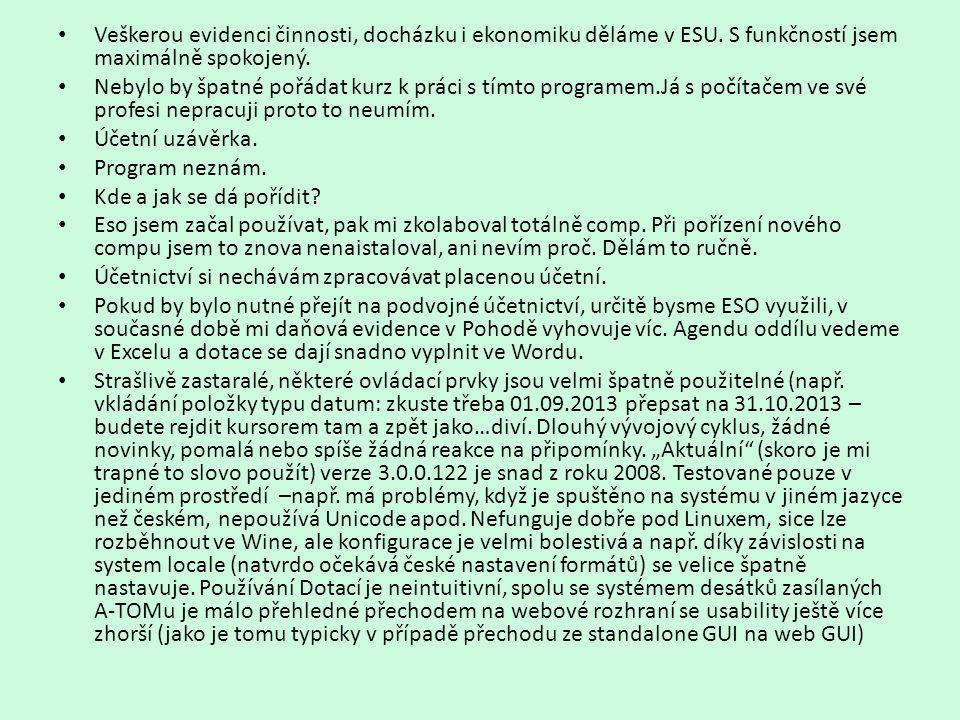 Veškerou evidenci činnosti, docházku i ekonomiku děláme v ESU