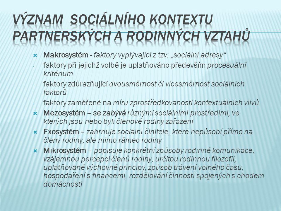 Význam sociálního kontextu partnerských a rodinných vztahů
