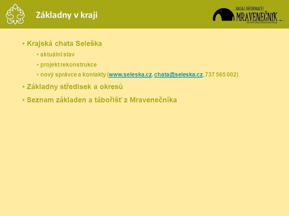 Základny v kraji Krajská chata Seleška Základny středisek a okresů
