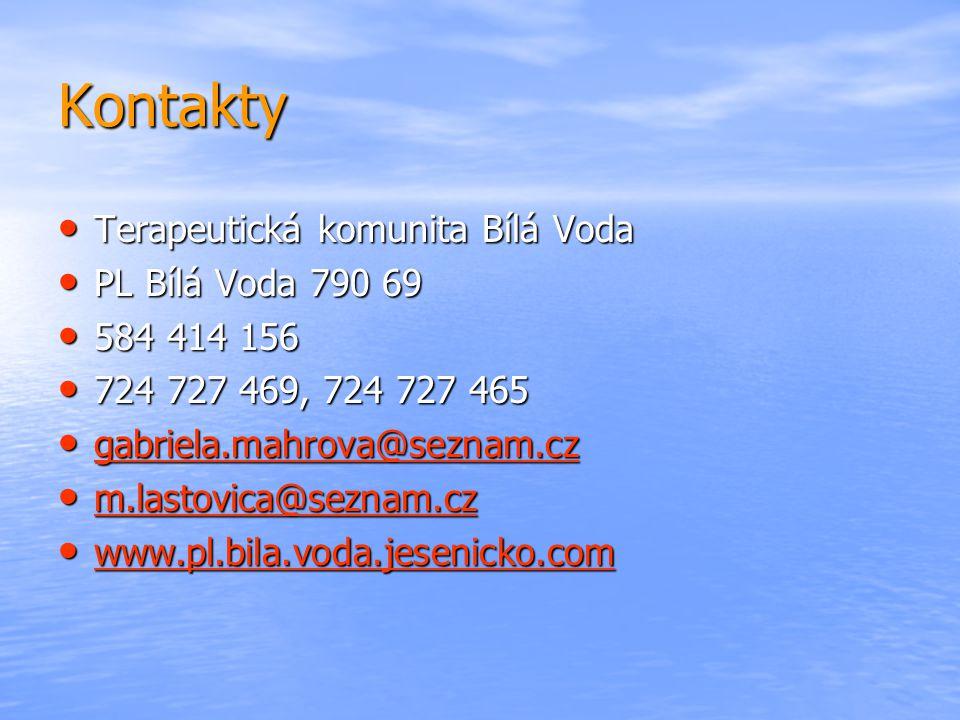 Kontakty Terapeutická komunita Bílá Voda PL Bílá Voda 790 69