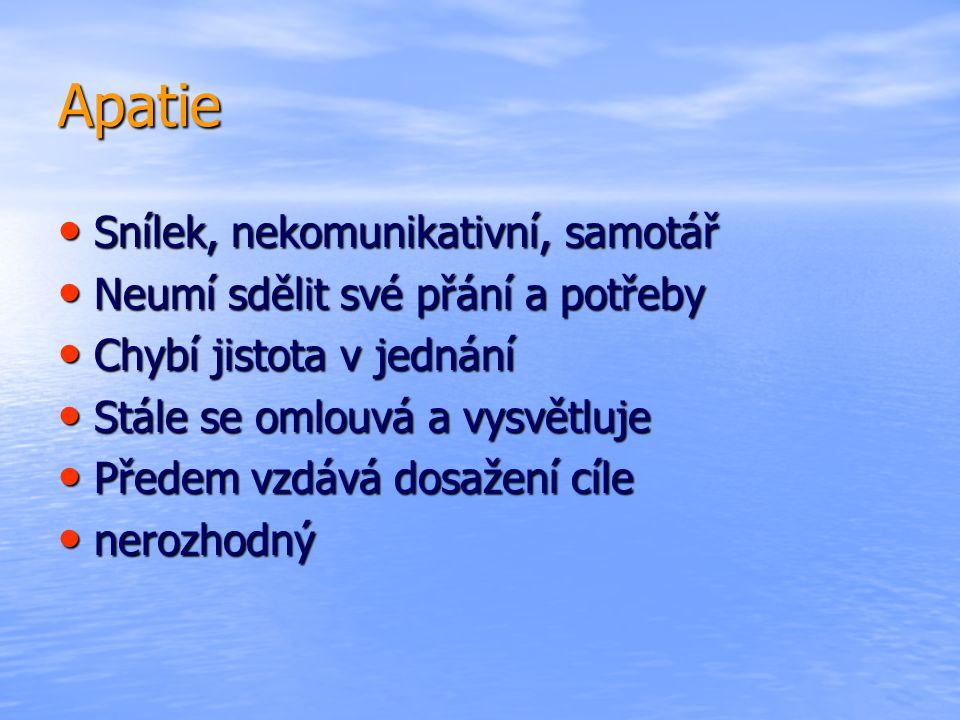 Apatie Snílek, nekomunikativní, samotář