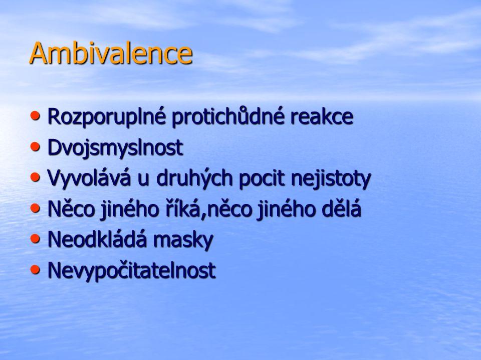 Ambivalence Rozporuplné protichůdné reakce Dvojsmyslnost