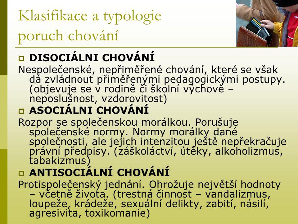 Klasifikace a typologie poruch chování