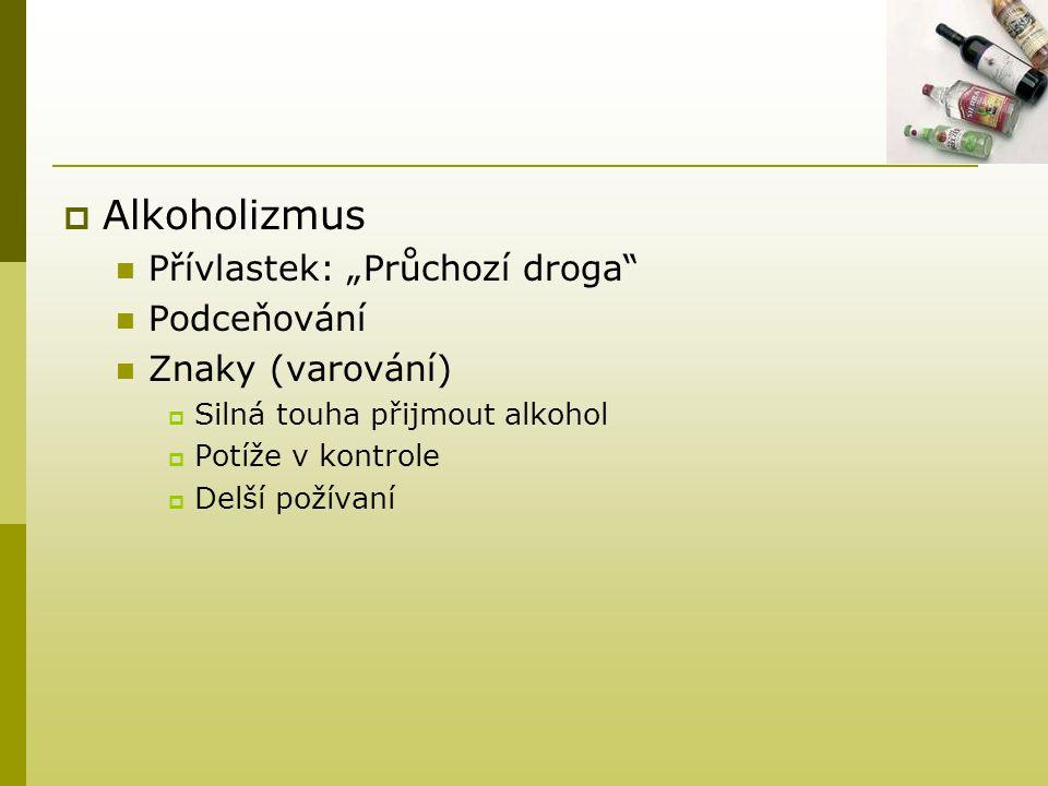 """Alkoholizmus Přívlastek: """"Průchozí droga Podceňování Znaky (varování)"""