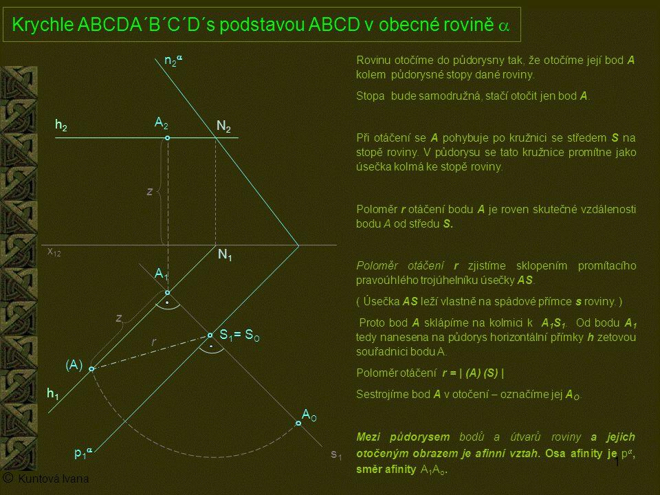 Krychle ABCDA´B´C´D´s podstavou ABCD v obecné rovině a
