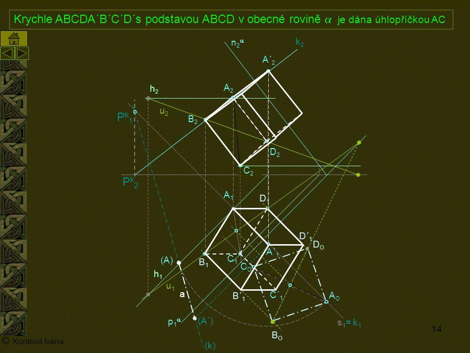 Krychle ABCDA´B´C´D´s podstavou ABCD v obecné rovině a je dána úhlopříčkou AC