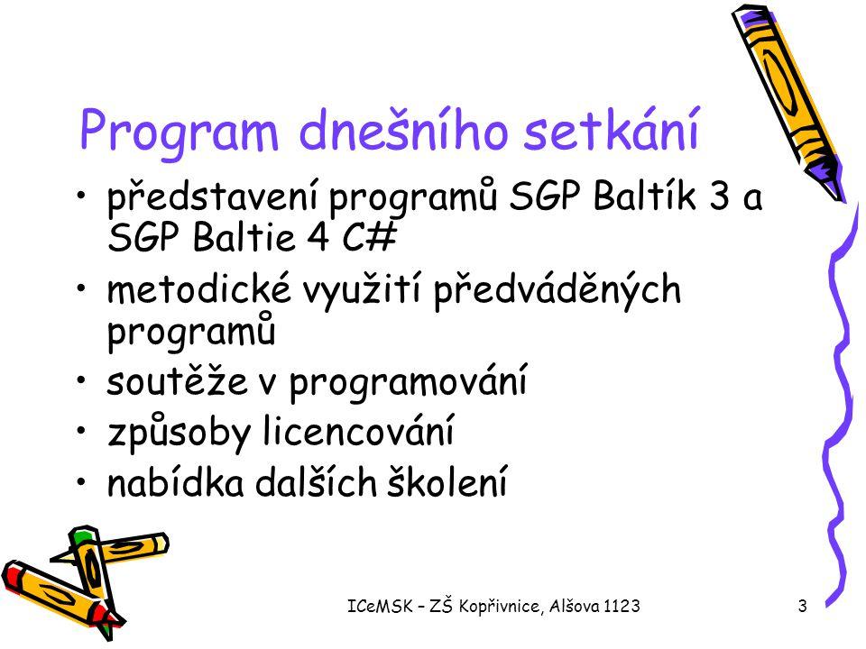 Program dnešního setkání