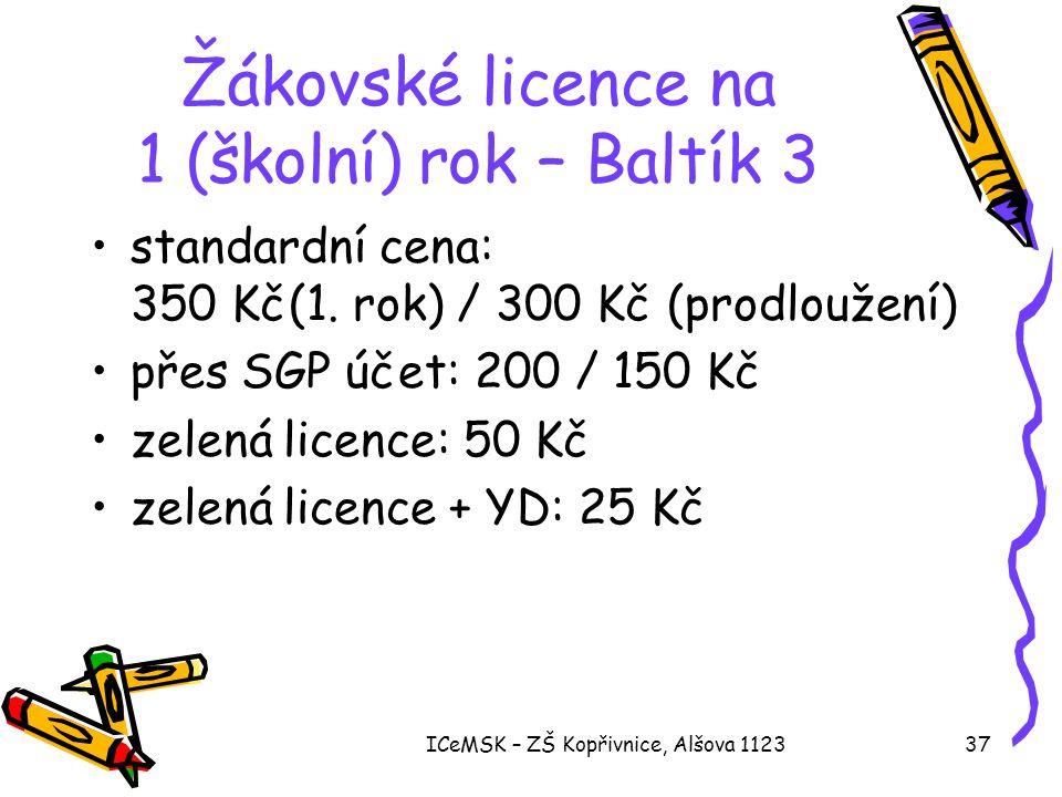 Žákovské licence na 1 (školní) rok – Baltík 3