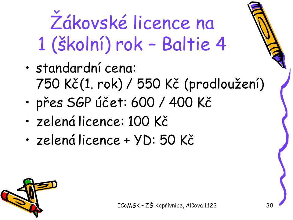 Žákovské licence na 1 (školní) rok – Baltie 4