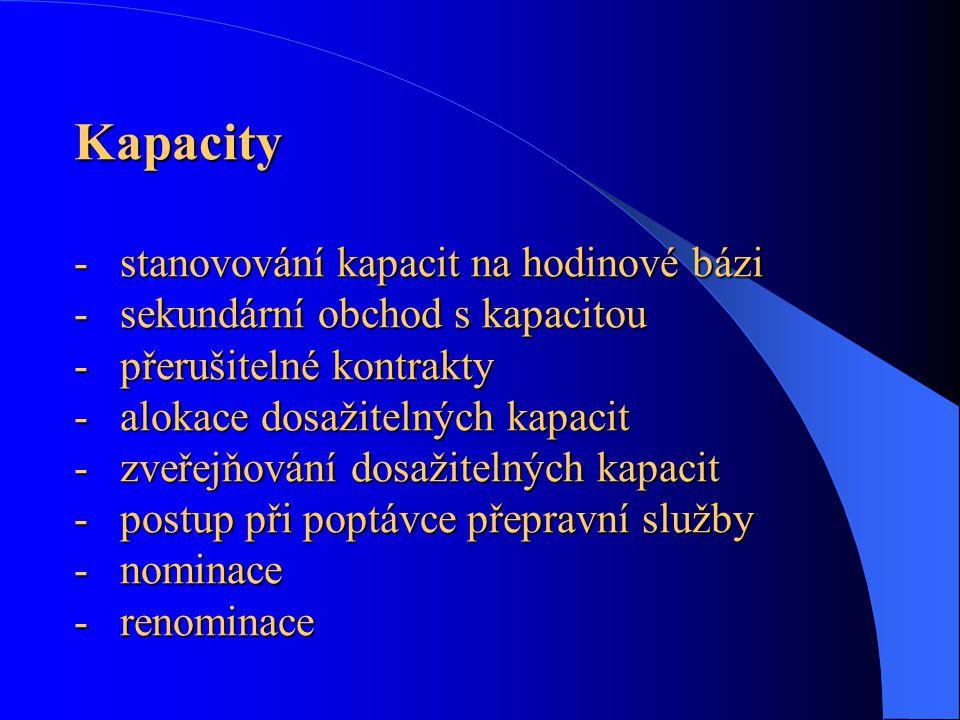 Kapacity - stanovování kapacit na hodinové bázi - sekundární obchod s kapacitou - přerušitelné kontrakty - alokace dosažitelných kapacit - zveřejňování dosažitelných kapacit - postup při poptávce přepravní služby - nominace - renominace