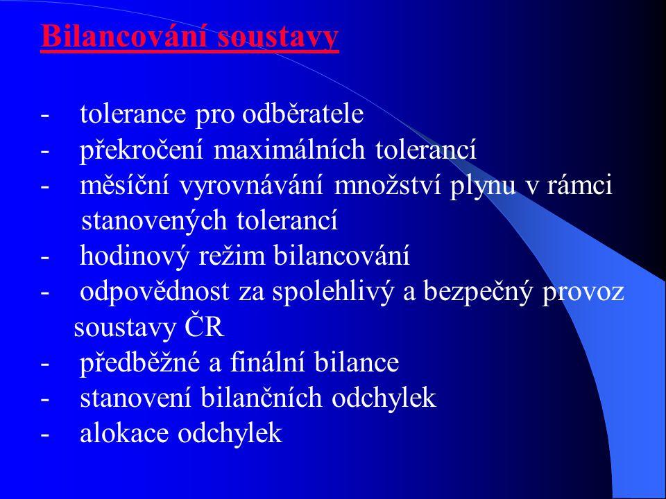 Bilancování soustavy - tolerance pro odběratele