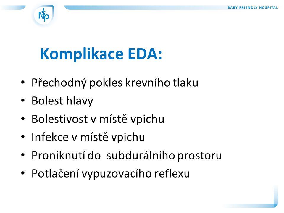 Komplikace EDA: Přechodný pokles krevního tlaku Bolest hlavy