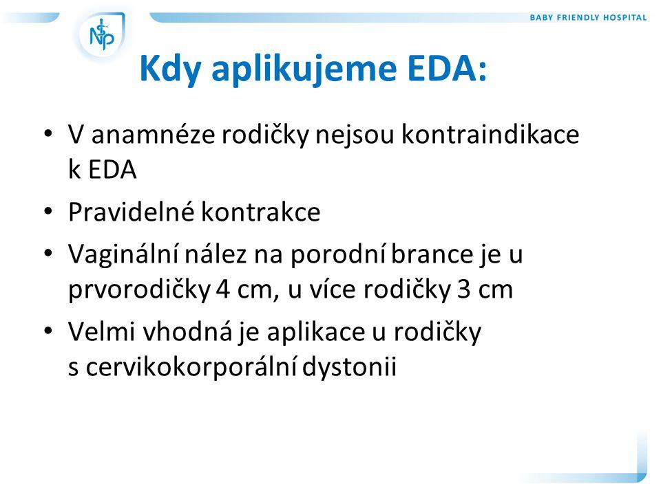 Kdy aplikujeme EDA: V anamnéze rodičky nejsou kontraindikace k EDA