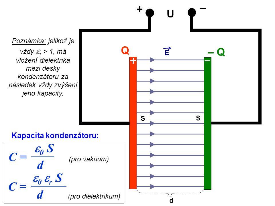 e0 S C = d e0 er S C = d U Q – Q Kapacita kondenzátoru: