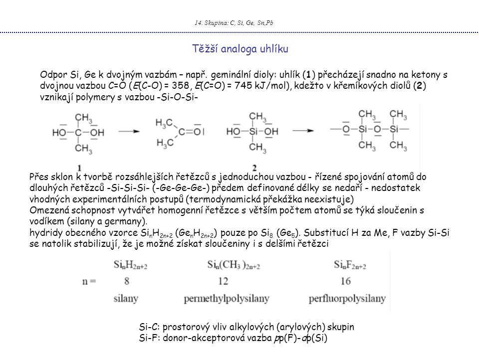 14. Skupina: C, Si, Ge, Sn,Pb Těžší analoga uhlíku.