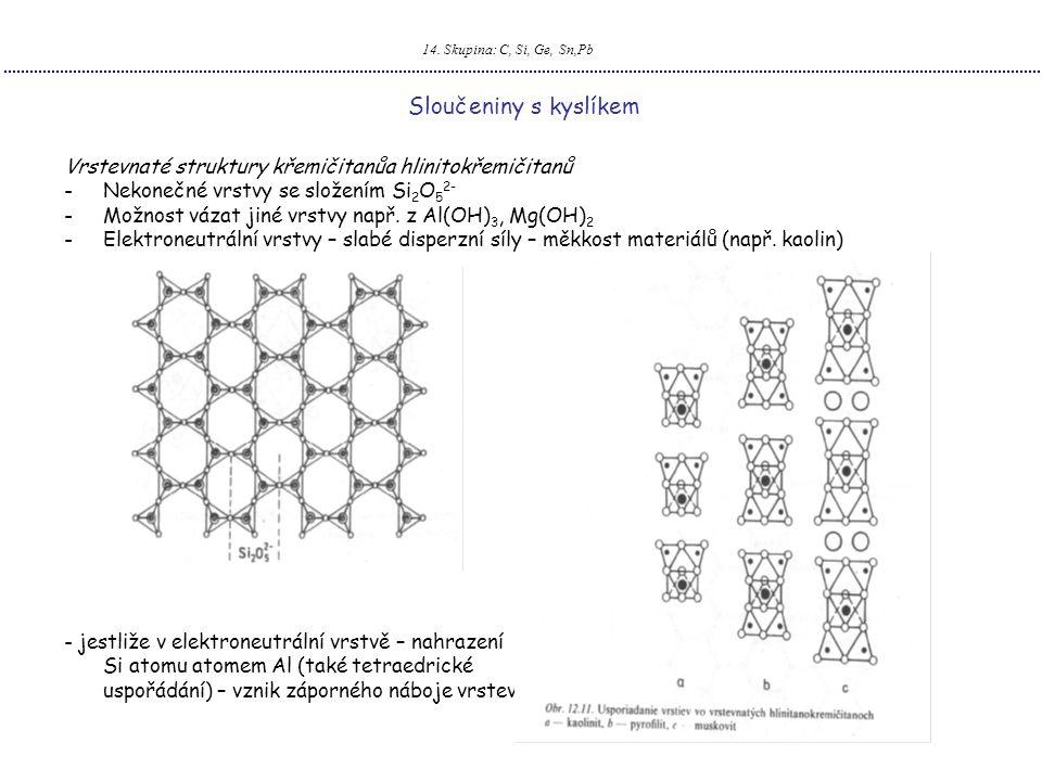 14. Skupina: C, Si, Ge, Sn,Pb Sloučeniny s kyslíkem. Vrstevnaté struktury křemičitanůa hlinitokřemičitanů.