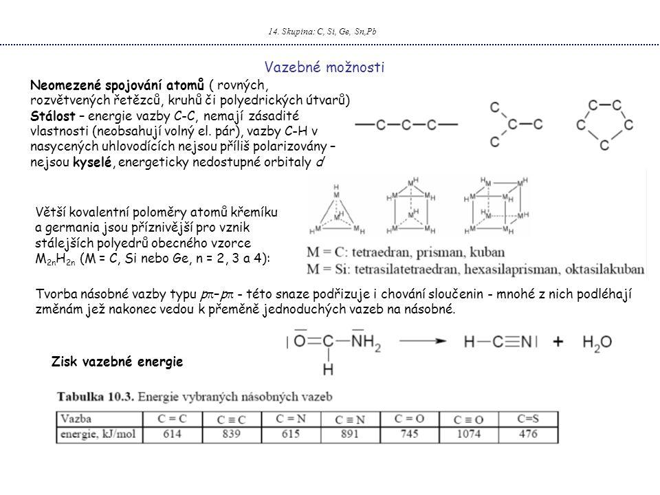 14. Skupina: C, Si, Ge, Sn,Pb Vazebné možnosti. Neomezené spojování atomů ( rovných, rozvětvených řetězců, kruhů či polyedrických útvarů)