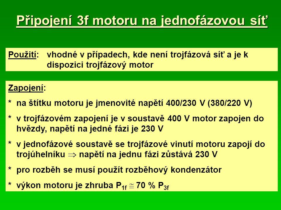 Připojení 3f motoru na jednofázovou síť