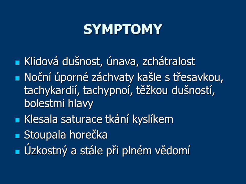 SYMPTOMY Klidová dušnost, únava, zchátralost
