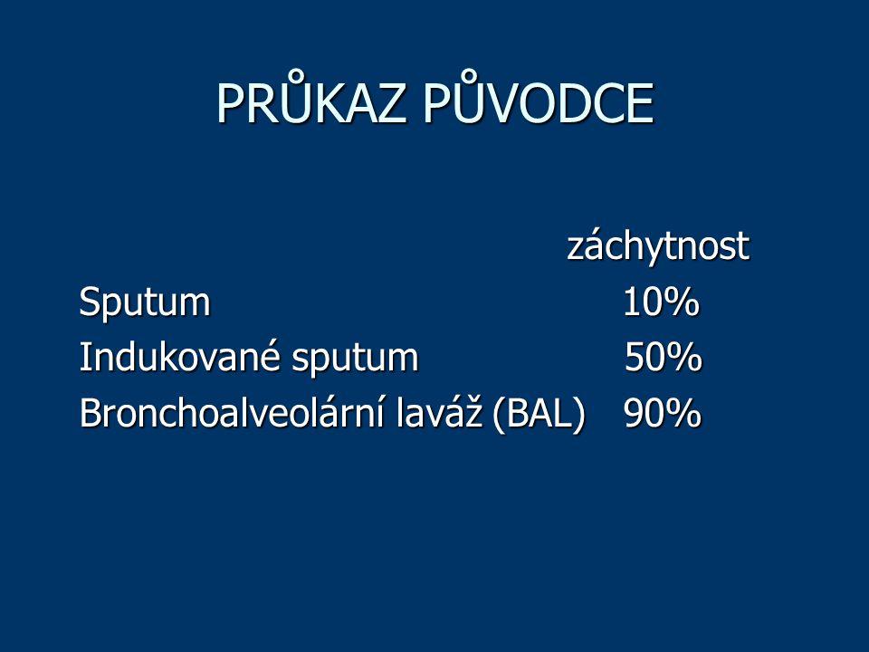 PRŮKAZ PŮVODCE záchytnost Sputum 10% Indukované sputum 50%