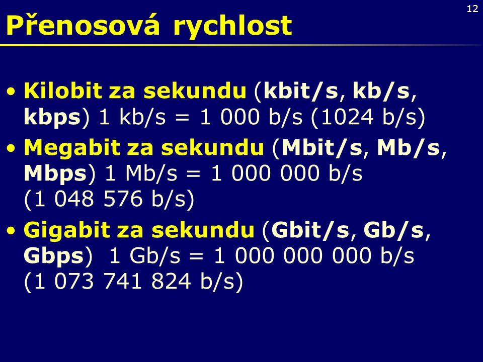 Přenosová rychlost Kilobit za sekundu (kbit/s, kb/s, kbps) 1 kb/s = 1 000 b/s (1024 b/s)
