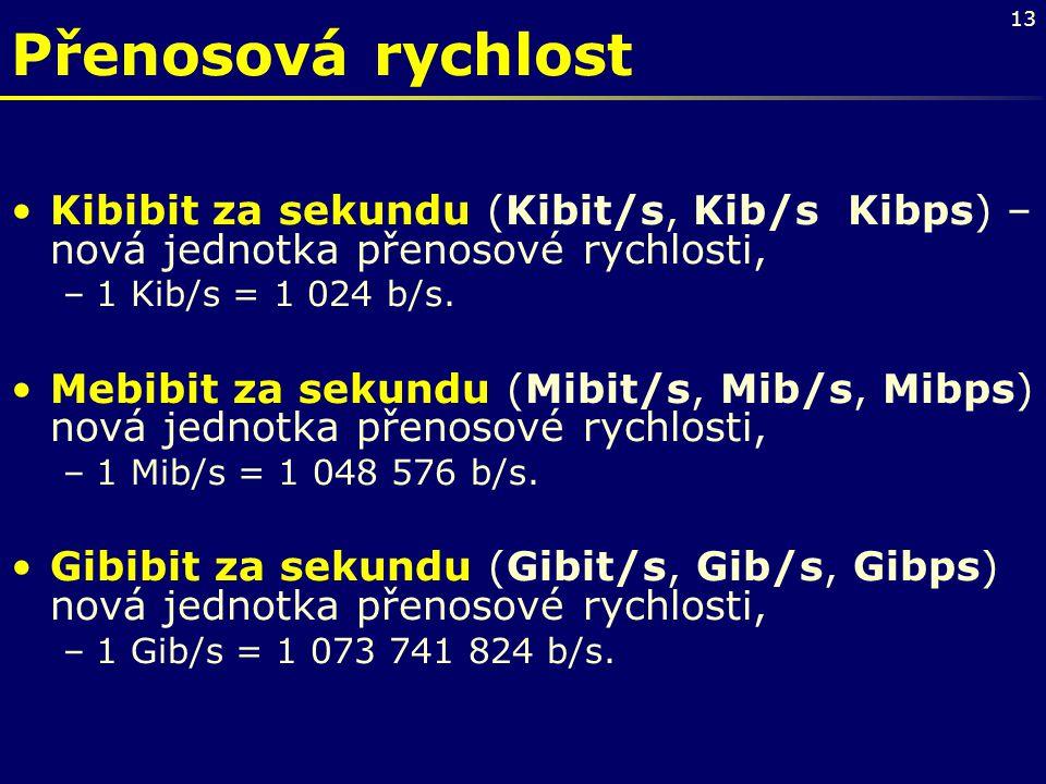Přenosová rychlost Kibibit za sekundu (Kibit/s, Kib/s Kibps) – nová jednotka přenosové rychlosti, 1 Kib/s = 1 024 b/s.