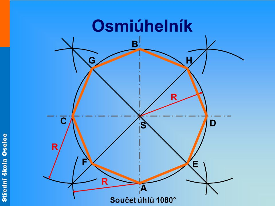 Osmiúhelník B G H R C D S R F E R A Součet úhlů 1080°
