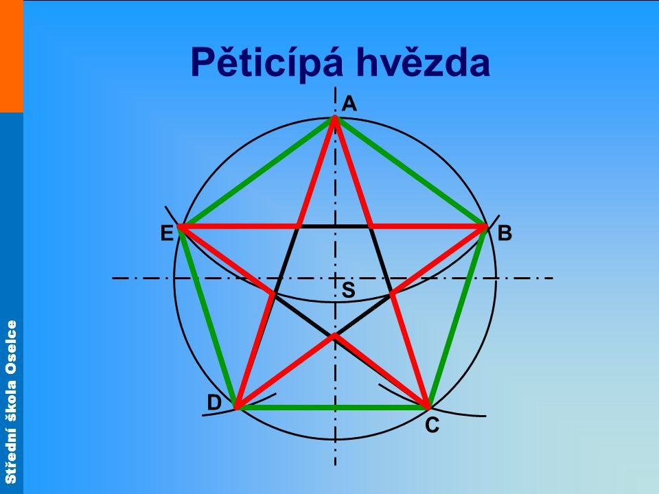 Pěticípá hvězda A E B S D C