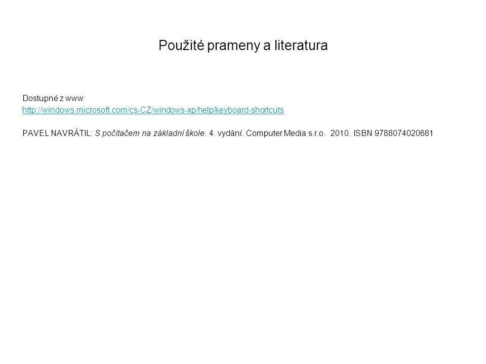 Použité prameny a literatura