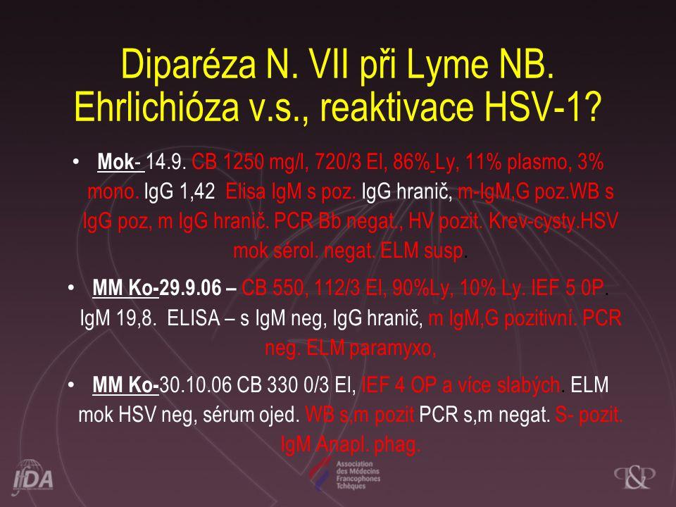 Diparéza N. VII při Lyme NB. Ehrlichióza v.s., reaktivace HSV-1