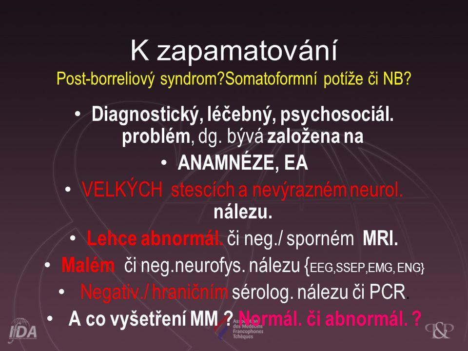 K zapamatování Post-borreliový syndrom Somatoformní potíže či NB