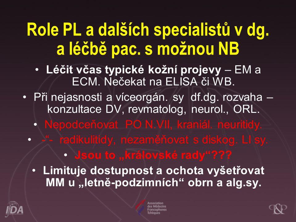 Role PL a dalších specialistů v dg. a léčbě pac. s možnou NB