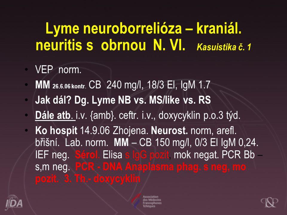 Lyme neuroborrelióza – kraniál. neuritis s obrnou N. VI. Kasuistika č