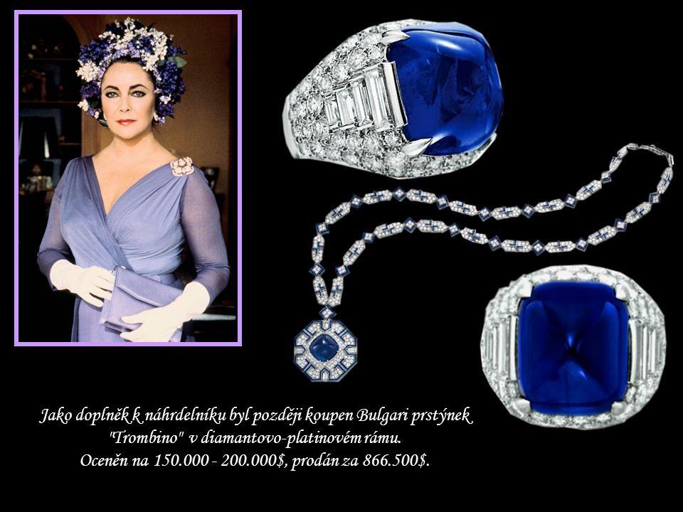 Jako doplněk k náhrdelníku byl později koupen Bulgari prstýnek Trombino v diamantovo-platinovém rámu.