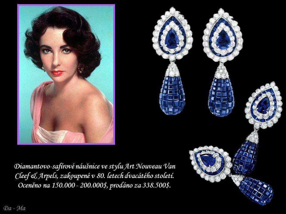 Diamantovo-safírové náušnice ve stylu Art Nouveau Van Cleef & Arpels, zakoupené v 80.