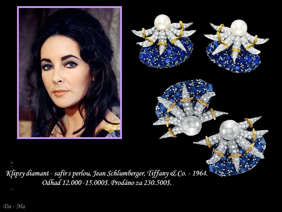 Klipsy diamant - safír s perlou, Jean Schlumberger, Tiffany & Co