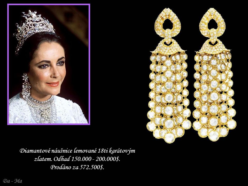 Diamantové náušnice lemované 18ti karátovým zlatem. Odhad 150