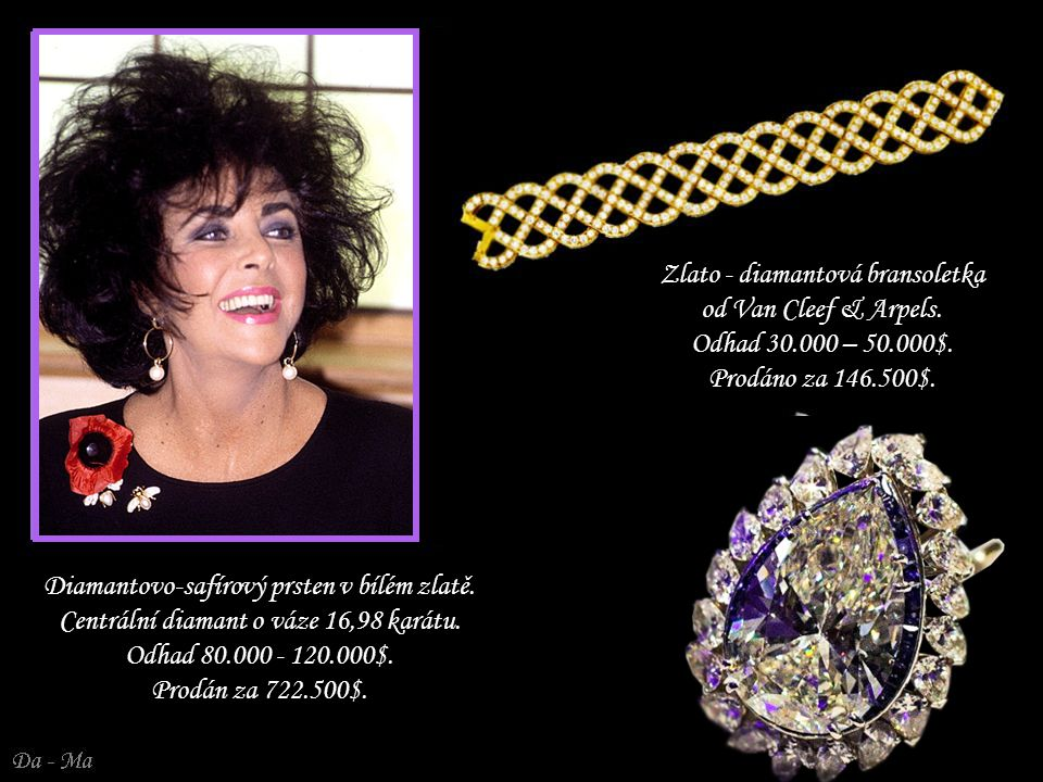 Zlato - diamantová bransoletka od Van Cleef & Arpels. Odhad 30