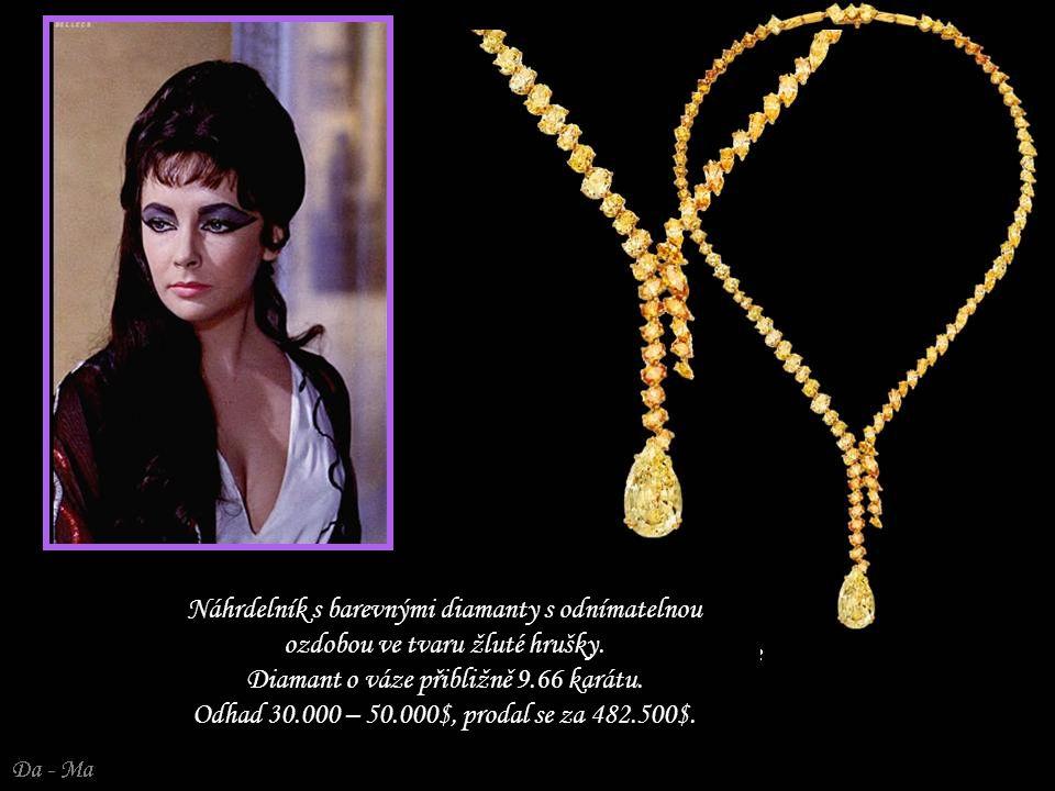 Náhrdelník s barevnými diamanty s odnímatelnou ozdobou ve tvaru žluté hrušky. Diamant o váze přibližně 9.66 karátu. Odhad 30.000 – 50.000$, prodal se za 482.500$.