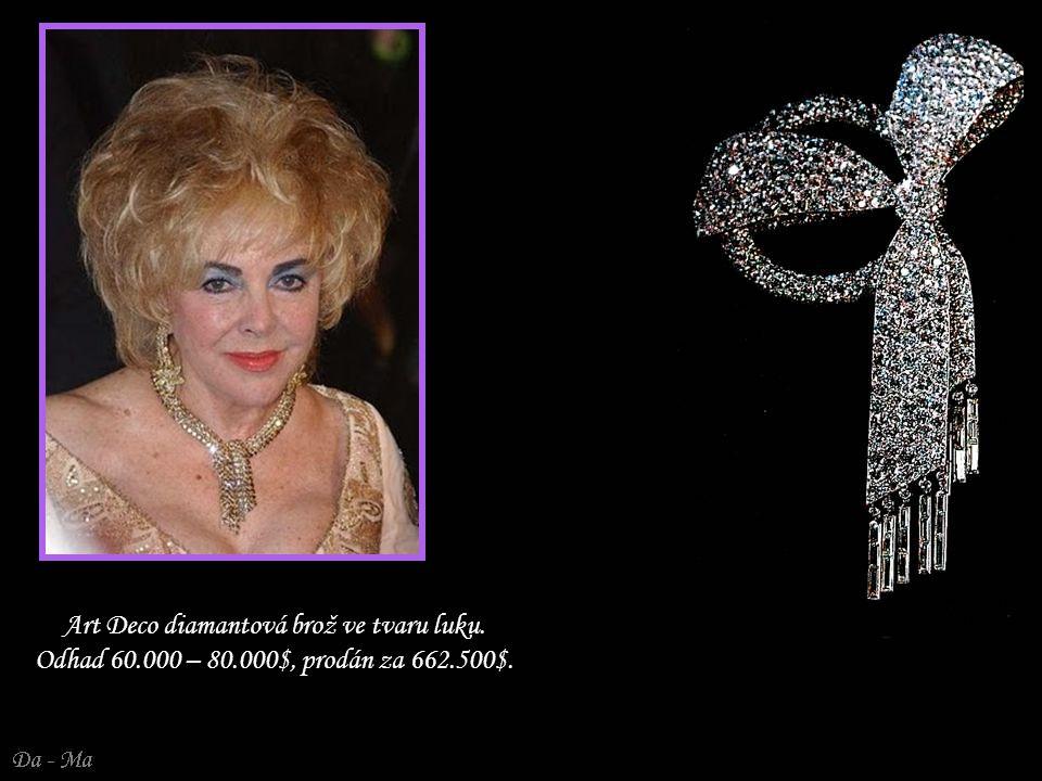 Art Deco diamantová brož ve tvaru luku. Odhad 60. 000 – 80