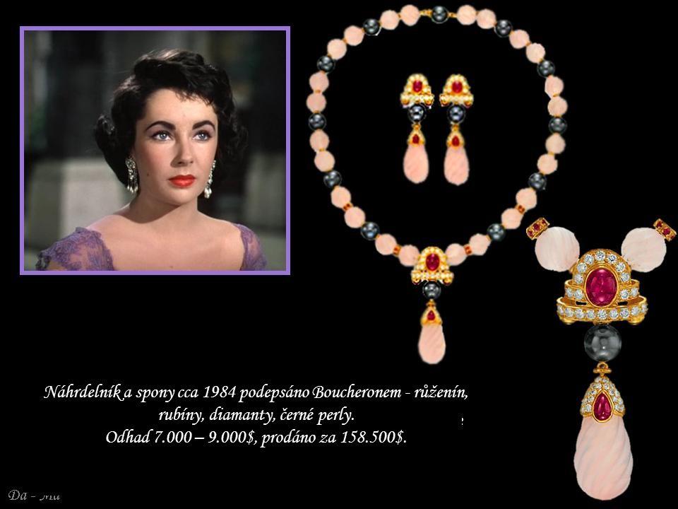 Náhrdelník a spony cca 1984 podepsáno Boucheronem - růženín, rubíny, diamanty, černé perly.