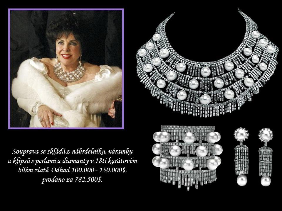 Souprava se skládá z náhrdelníku, náramku a klipsů s perlami a diamanty v 18ti karátovém bílém zlatě.